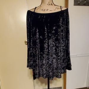 Beautiful Crushed Velvet Cold-Shoulder Top Sz XXL